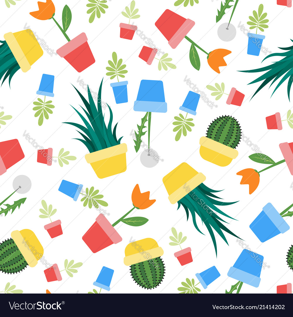 Seamless colorful plants and flowers pattern
