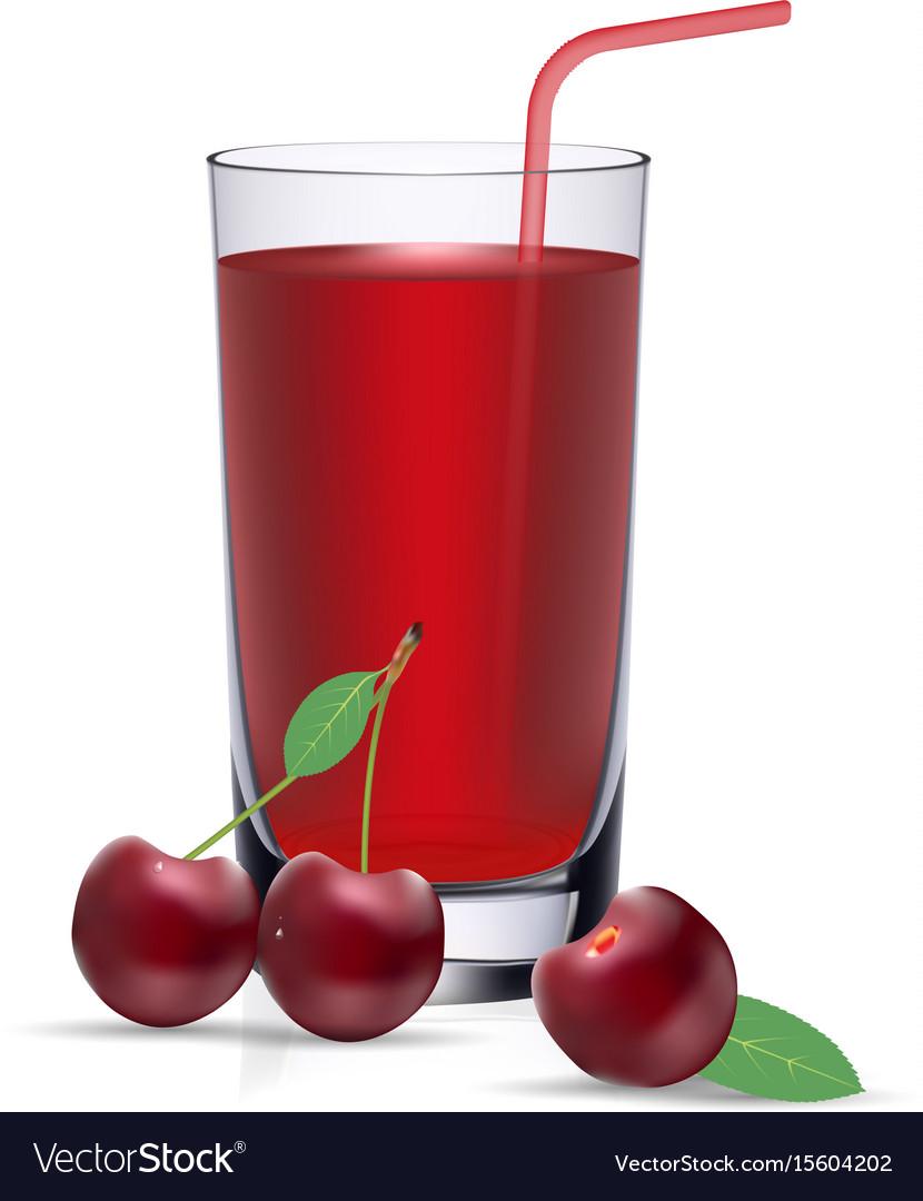 Set of cherry juice and fresh ripe berries