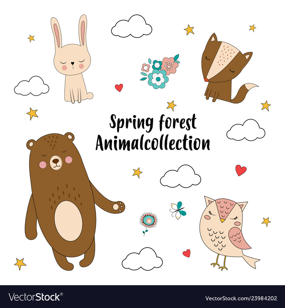 Spring forest animal collection
