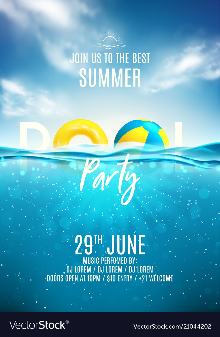 summer pool party poster template royalty free vector image