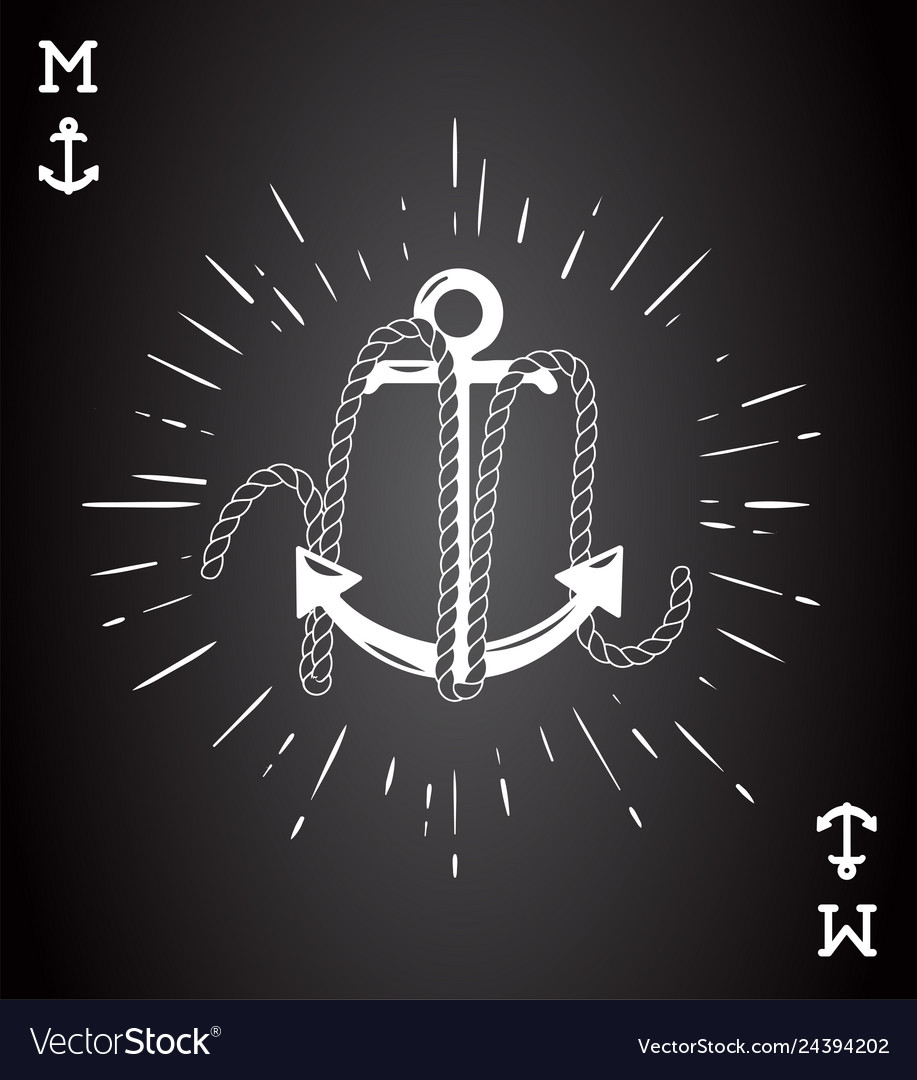 Vintage label with an anchor and letter made of