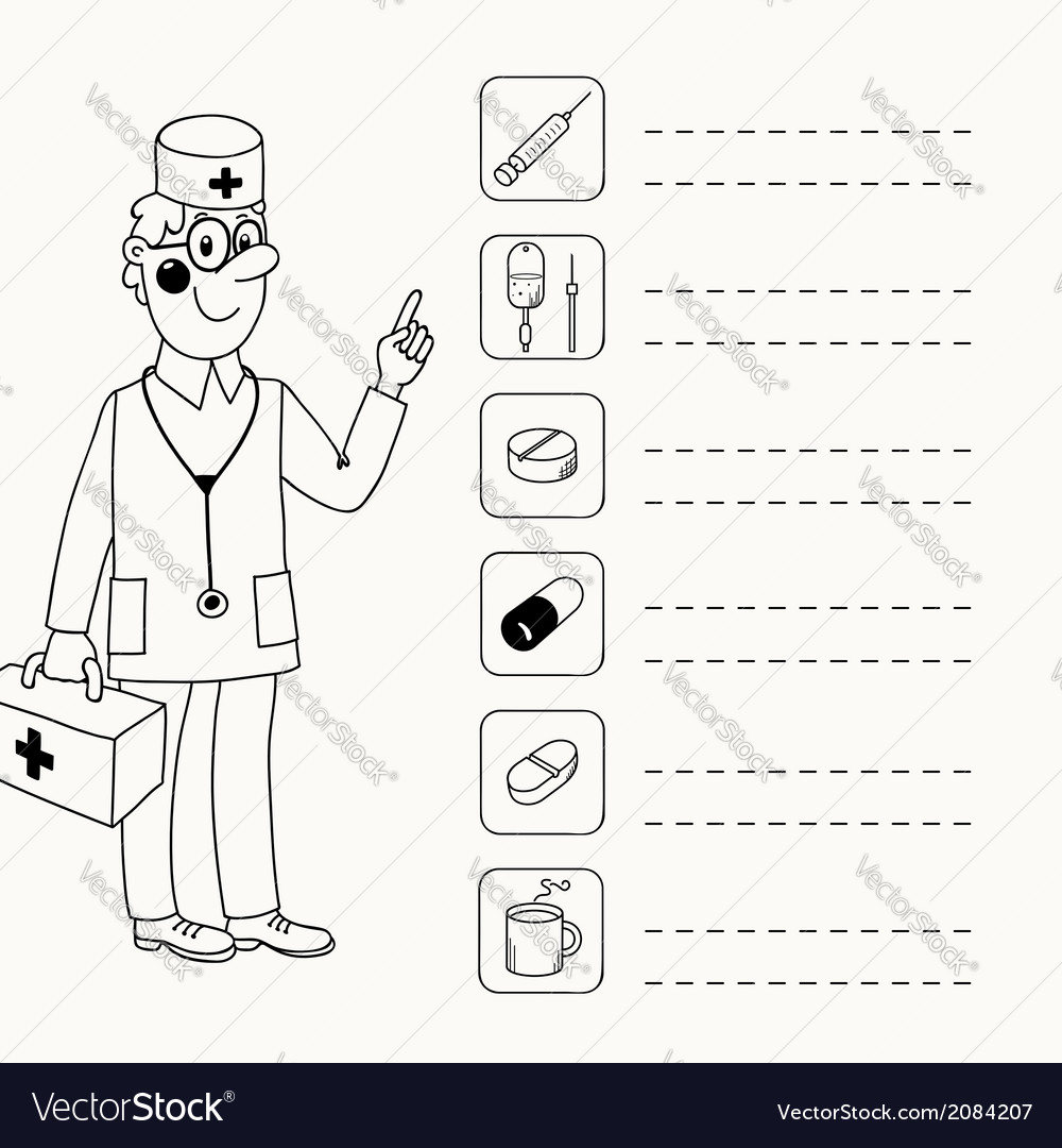Background with a doctor who gives directives vector image
