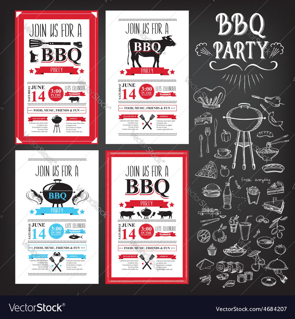 Barbecue party invitation bbq template menu design barbecue party invitation bbq template menu design vector image maxwellsz