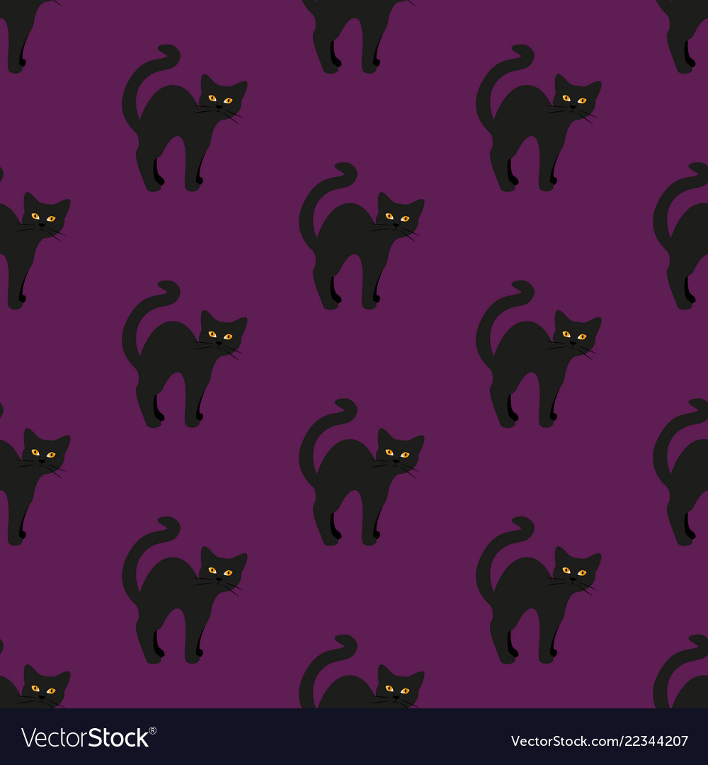 Black cat on purple seamless