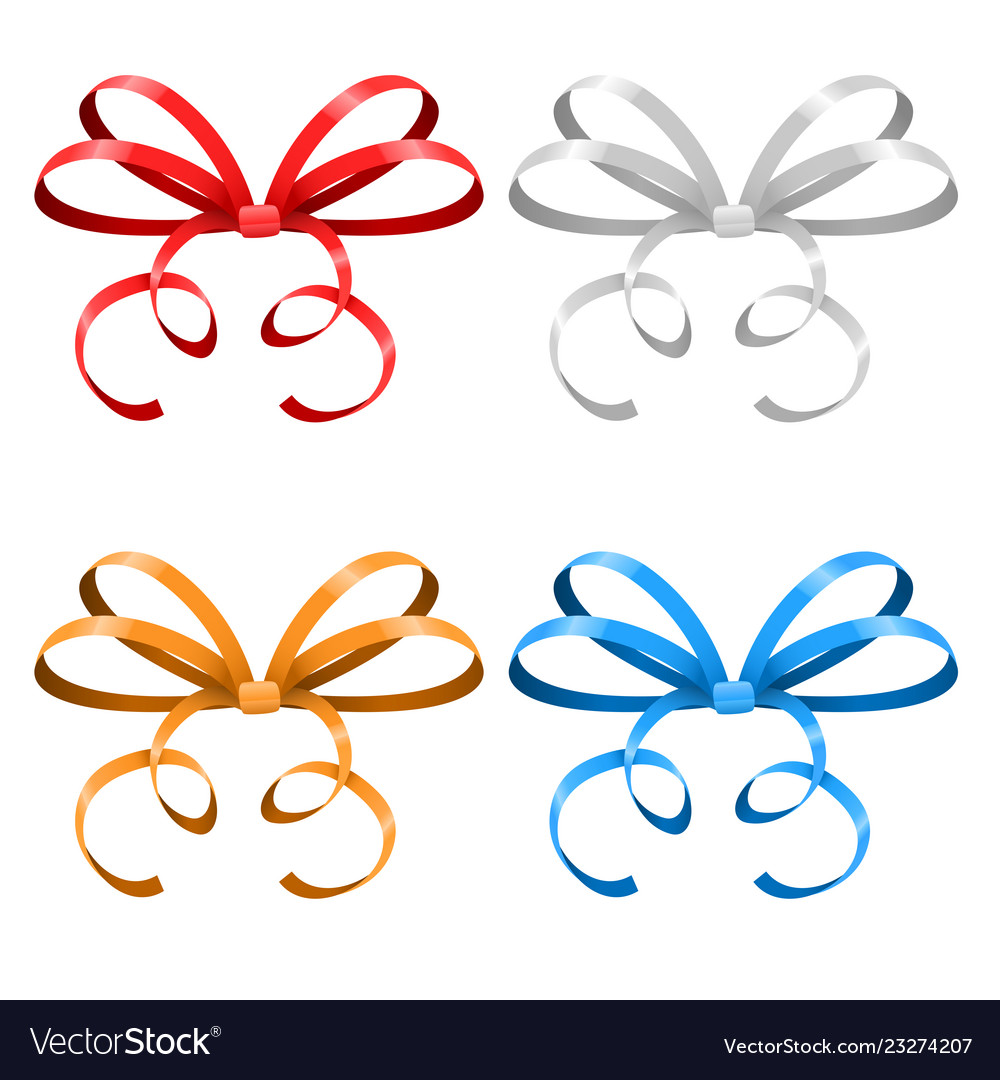 Bows thin tied colored ribbons