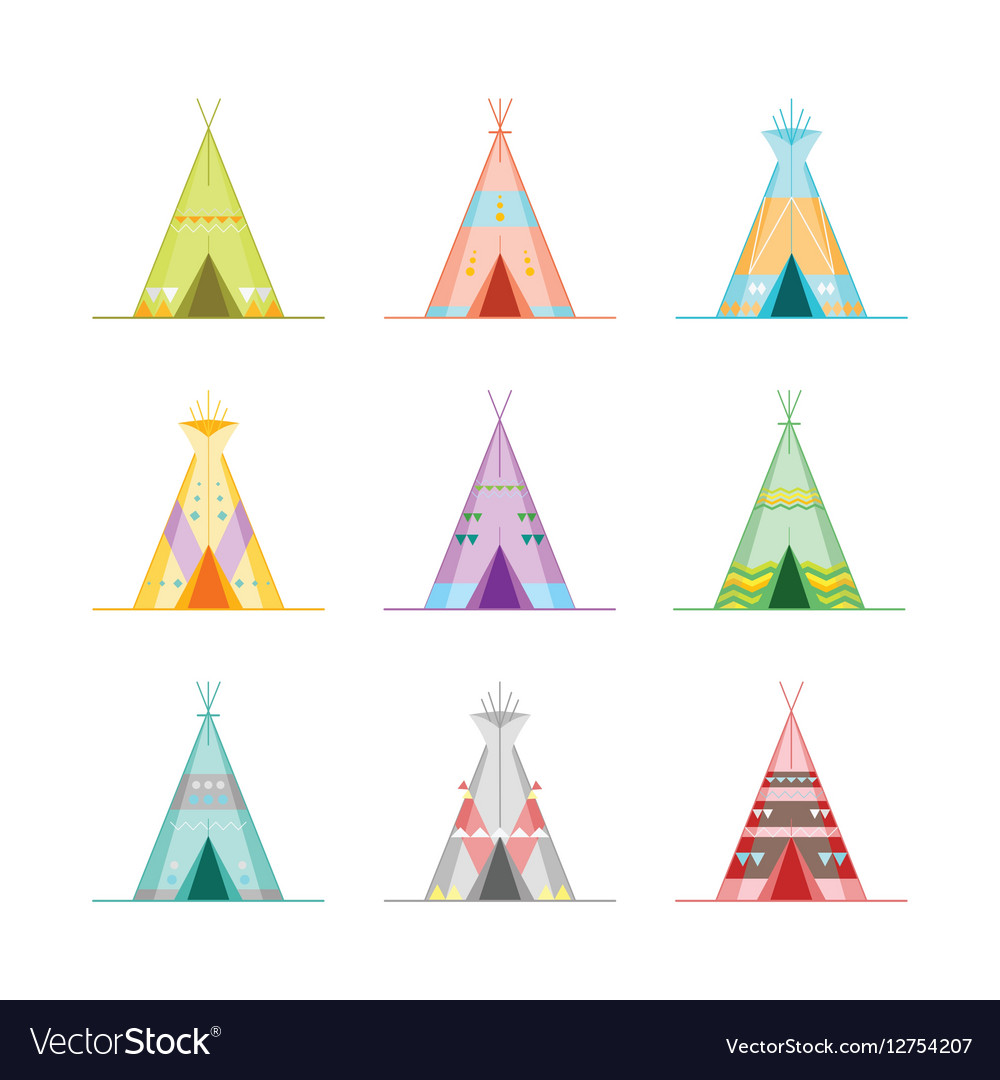 Cartoon Wigwams or Tepees Icons Set