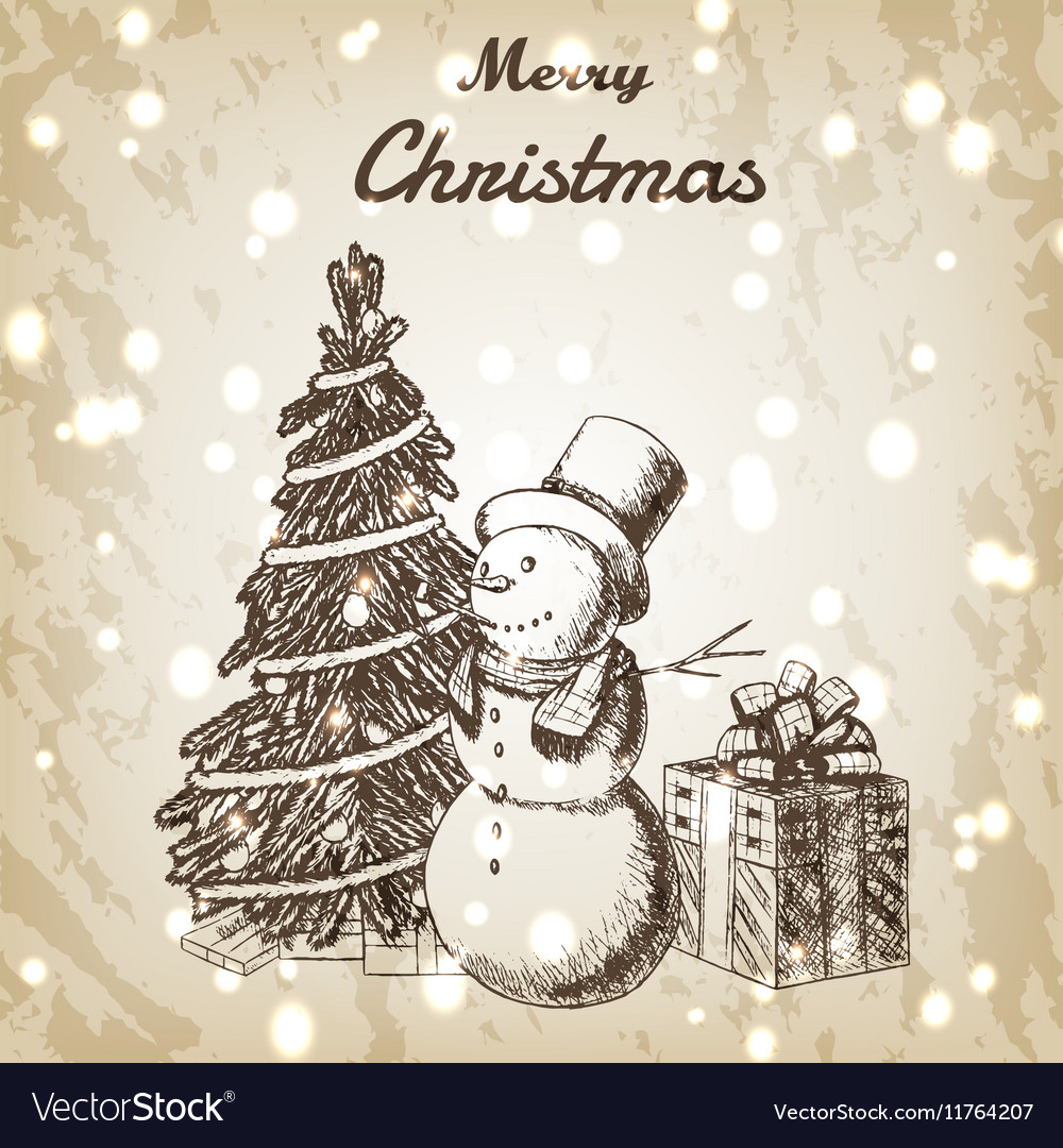 Christmas or New year hand drawn vector image