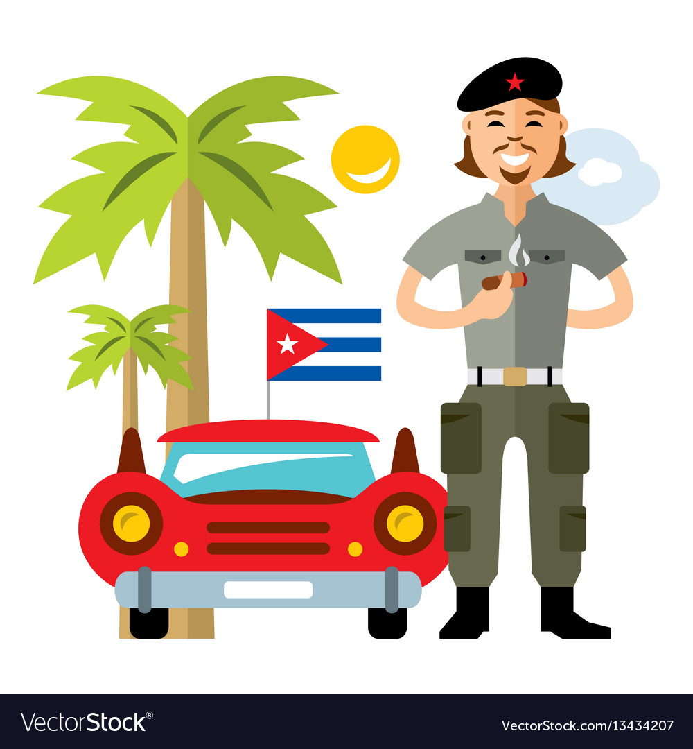 Cuba travel concept flat style colorful