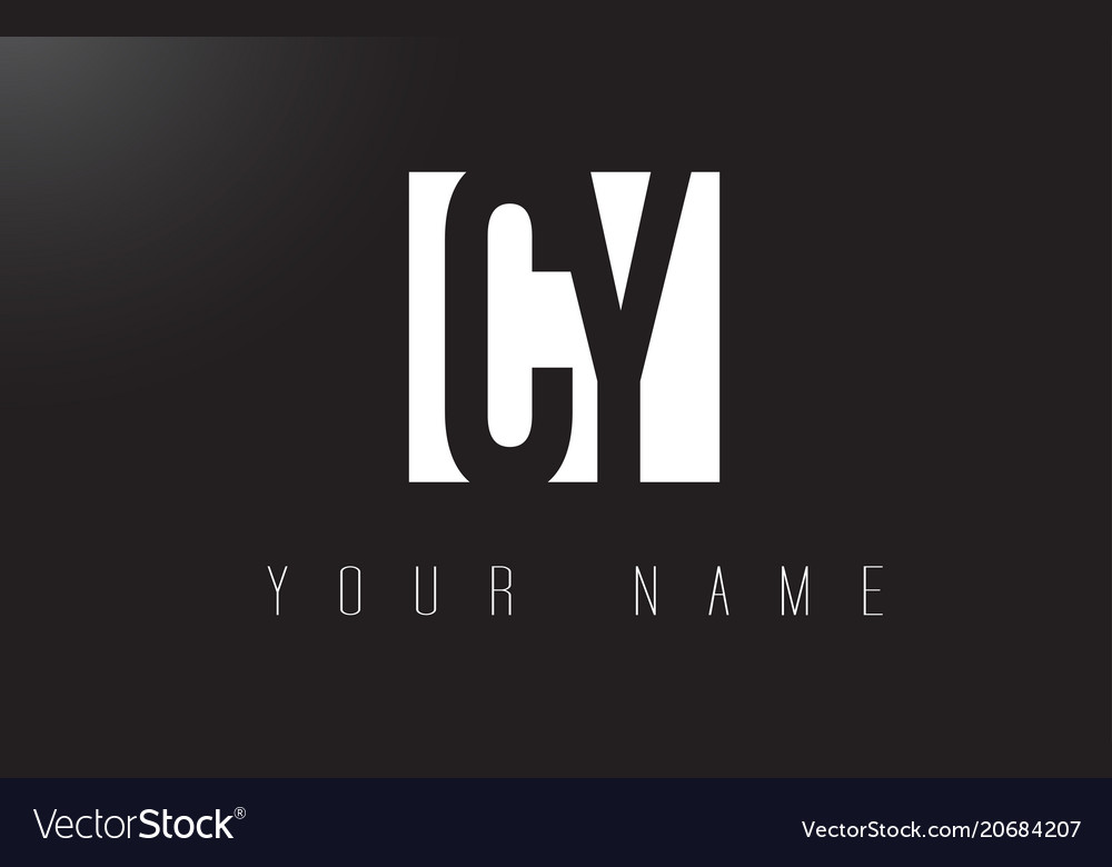 Cy letter logo with black and white negative