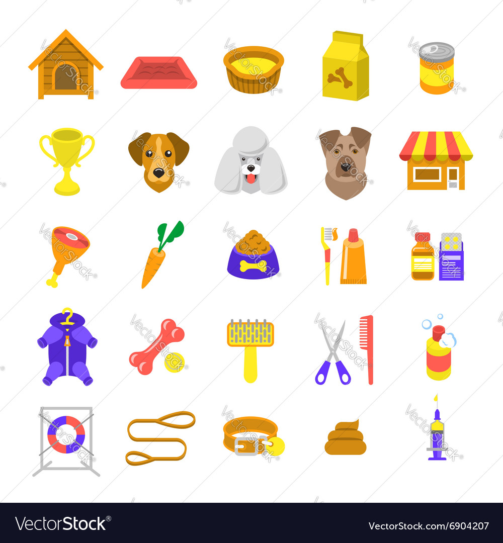 Flat colorful dog care web icons isolated vector image
