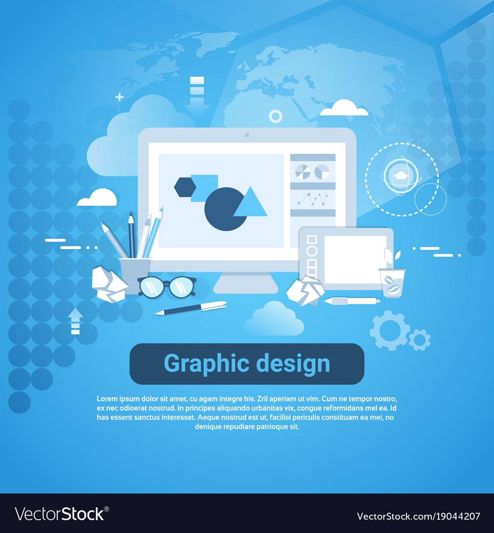Graphic Design Web Development Template Banner Vector Image