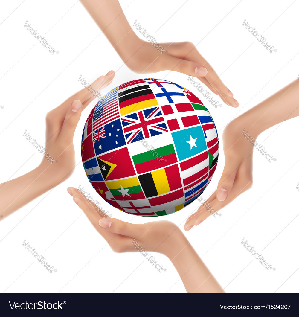 Hands holding globe with flags of world