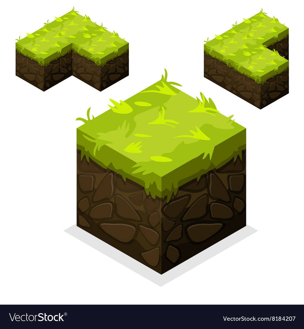 Isometric Landscape Cube unending land and grass