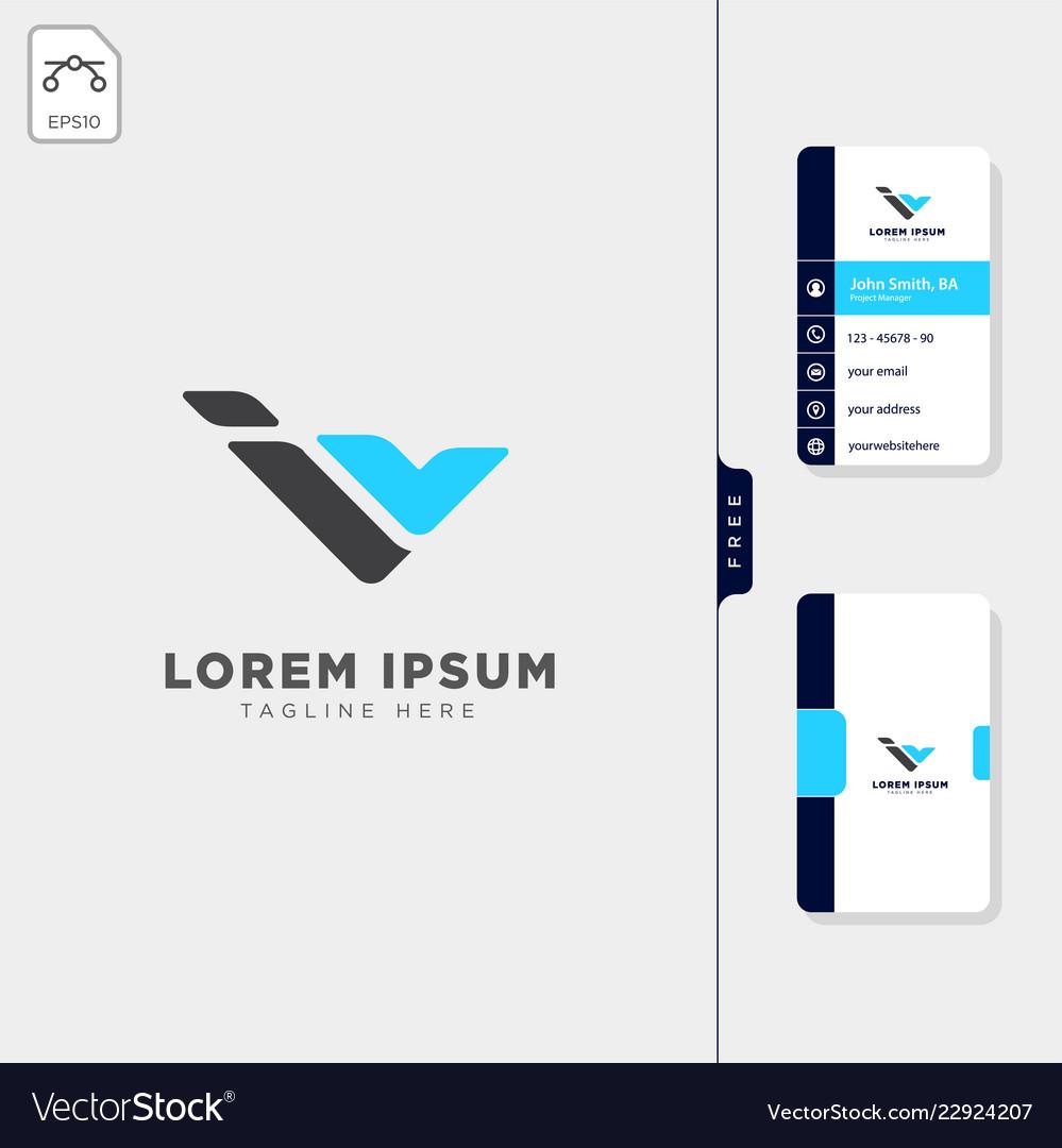Minimal i iv or v initial logo template free