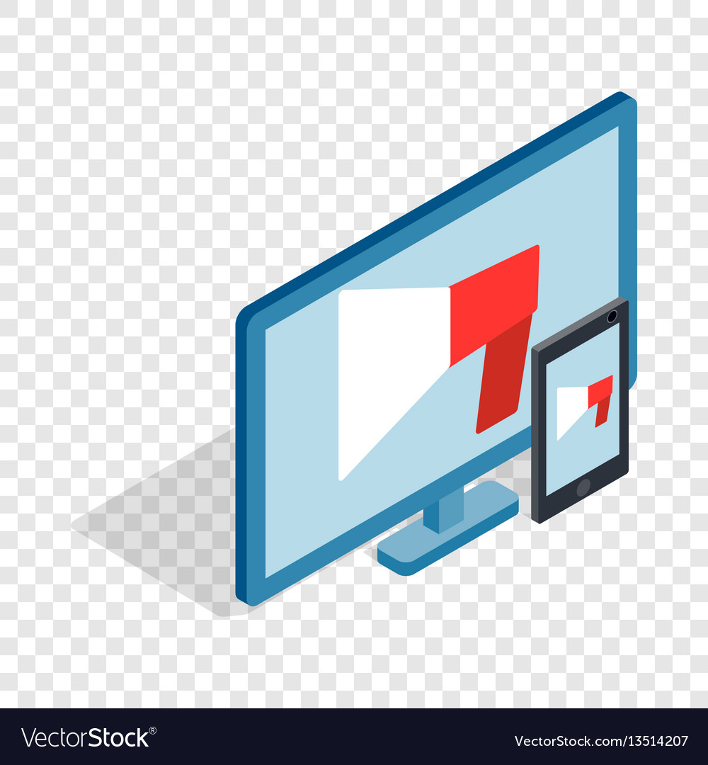 Monitor and tablet isometric icon