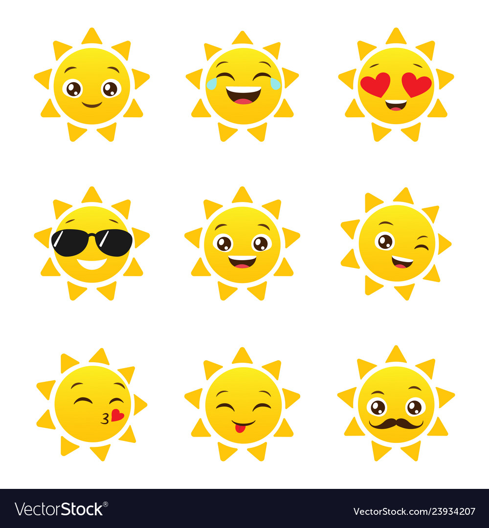 Set of funny sun emojis