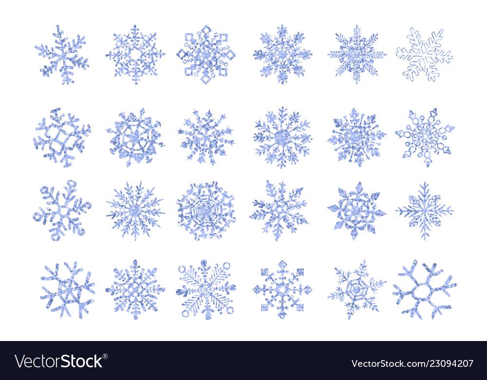 Set of ice snowflakes blue flake of snow gradient