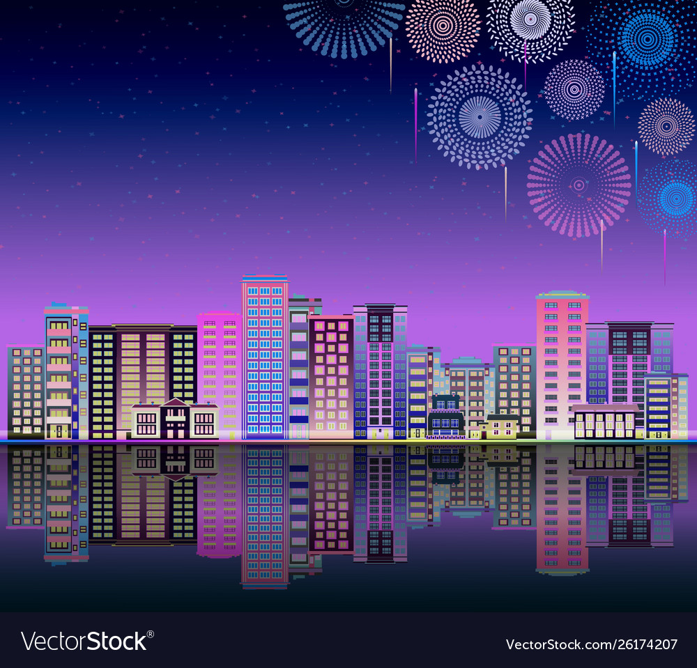 Skyline or urban landscape with neon firework