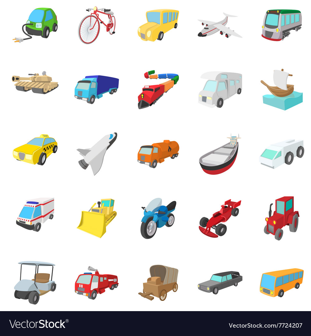Transportation icons set cartoon style