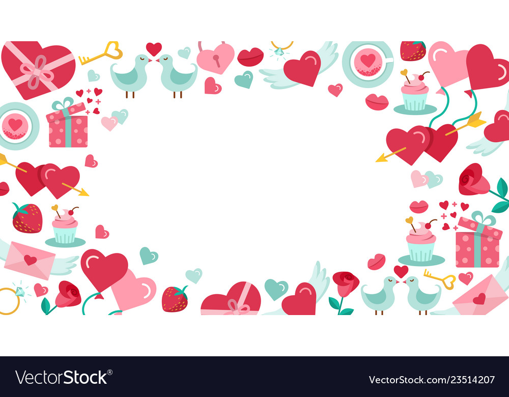 Valentines day background with icon set