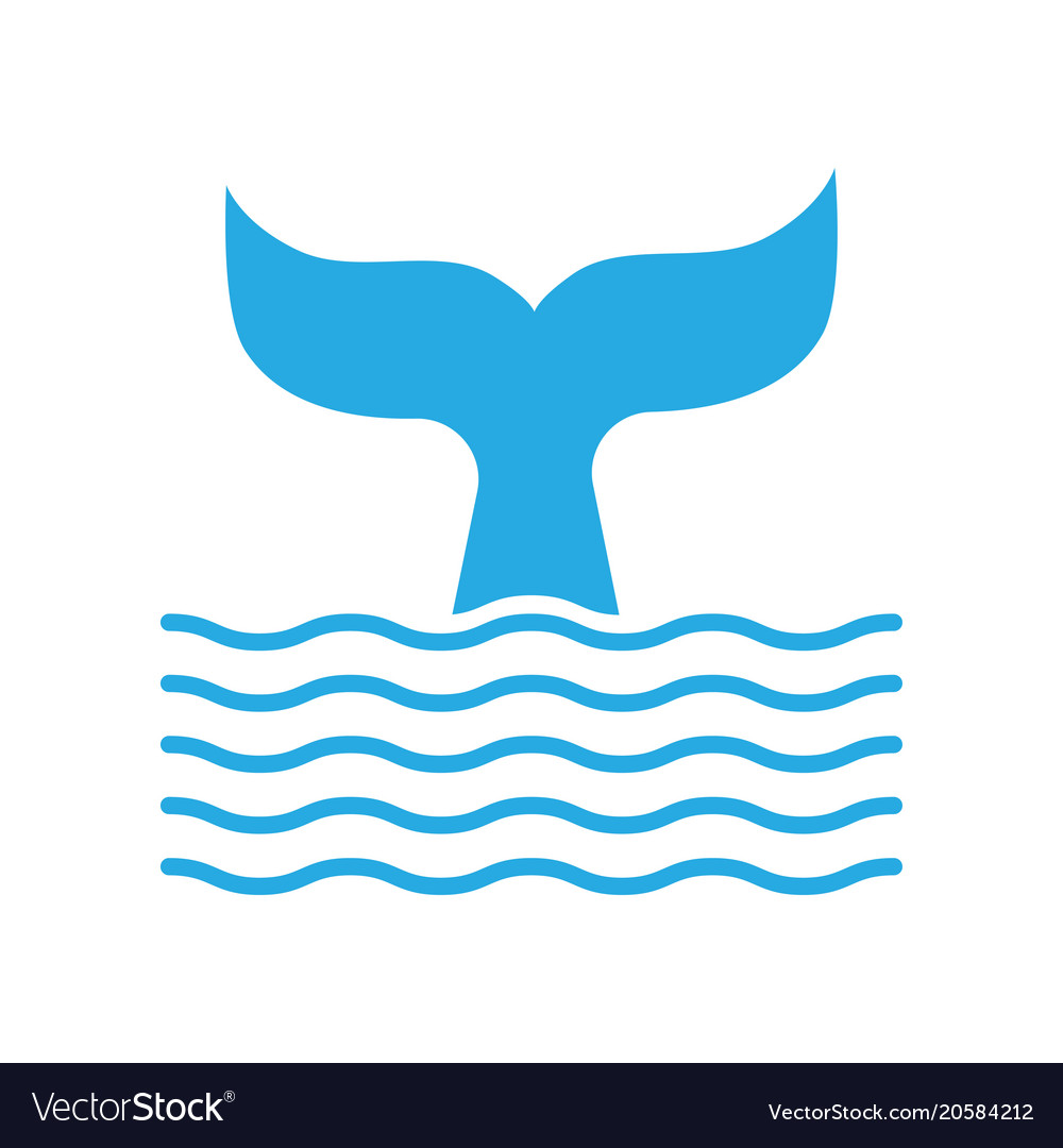 Abstract symbol whale tail and sea wave