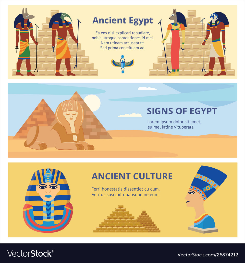 Ancient Egypt Culture Set Banners With History Vector Image