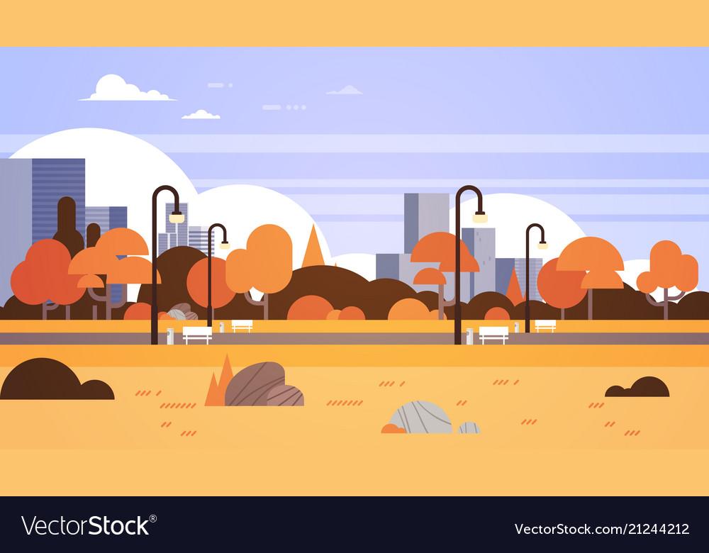 Autumn urban yellow park outdoors city buildings