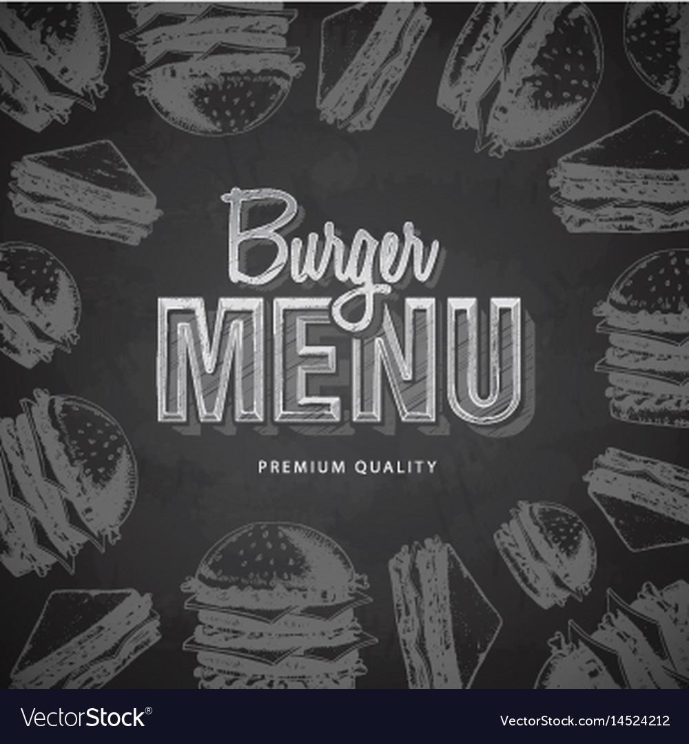 Chalk drawing typography fast food burger menu