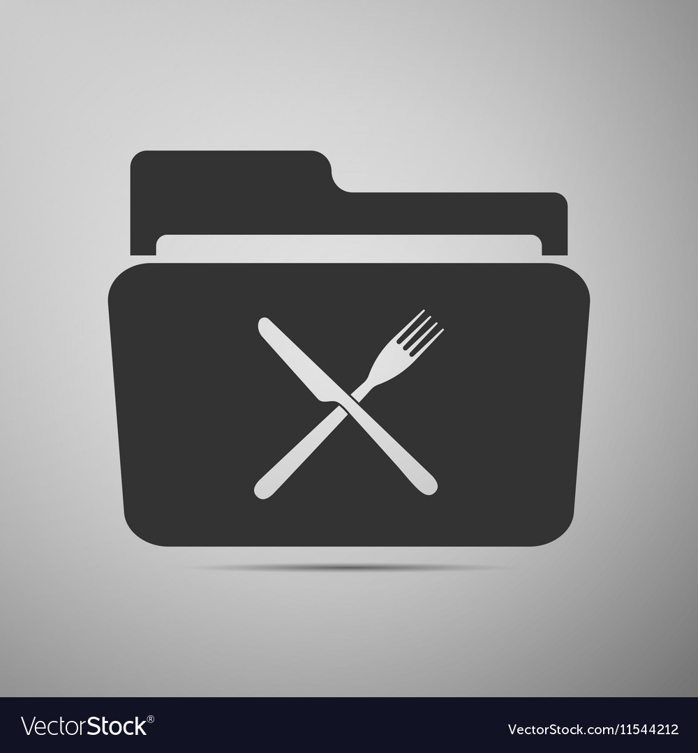 Crossed fork over knife grey folder flat icon on vector image