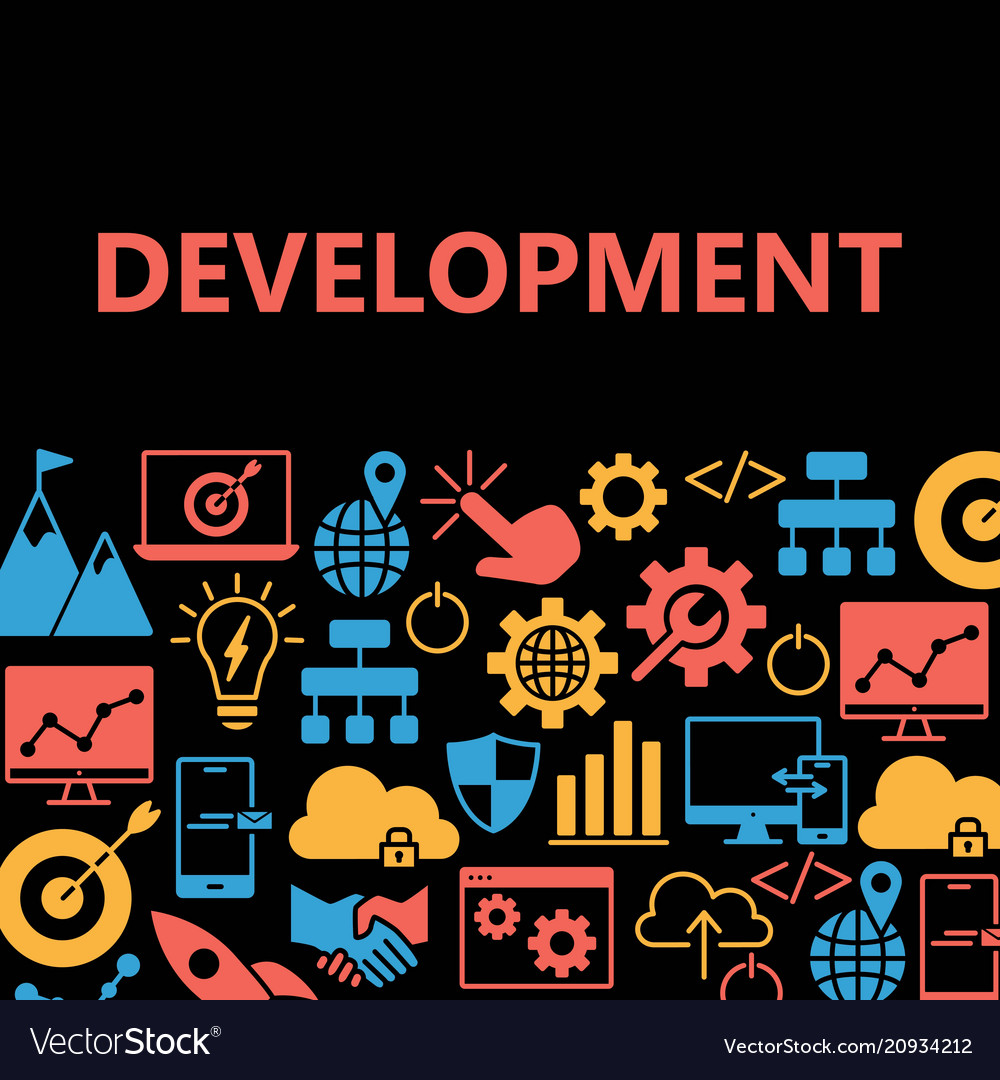 Development poster with icons set
