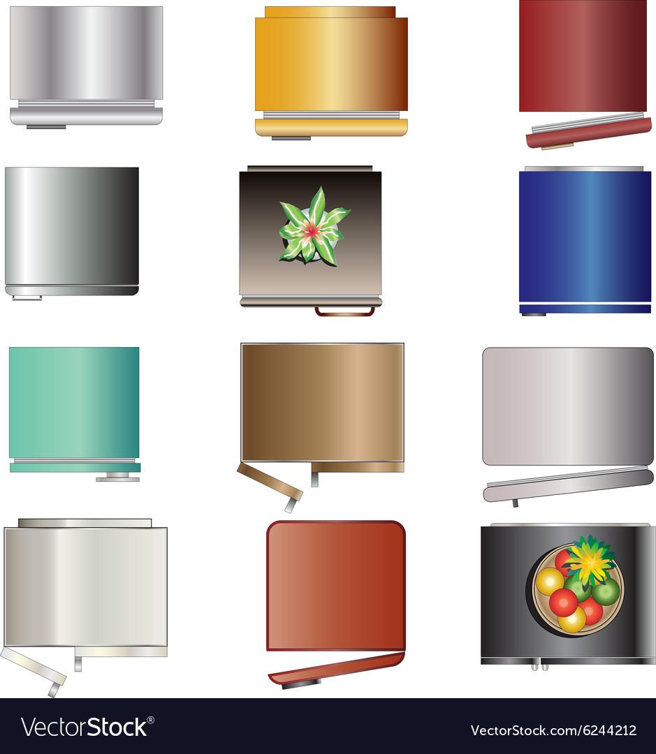 Kitchen Equipment Refrigerators Top View Set 6 Vector Image