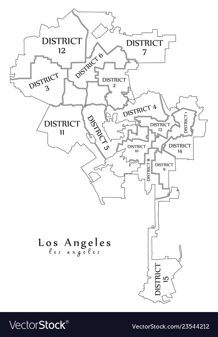 Los Angeles City Map Modern city map   los angeles city of the usa Vector Image