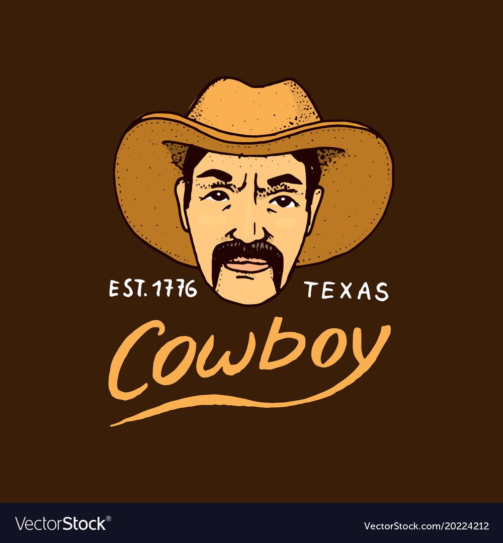 Native american cowboy old label or badge