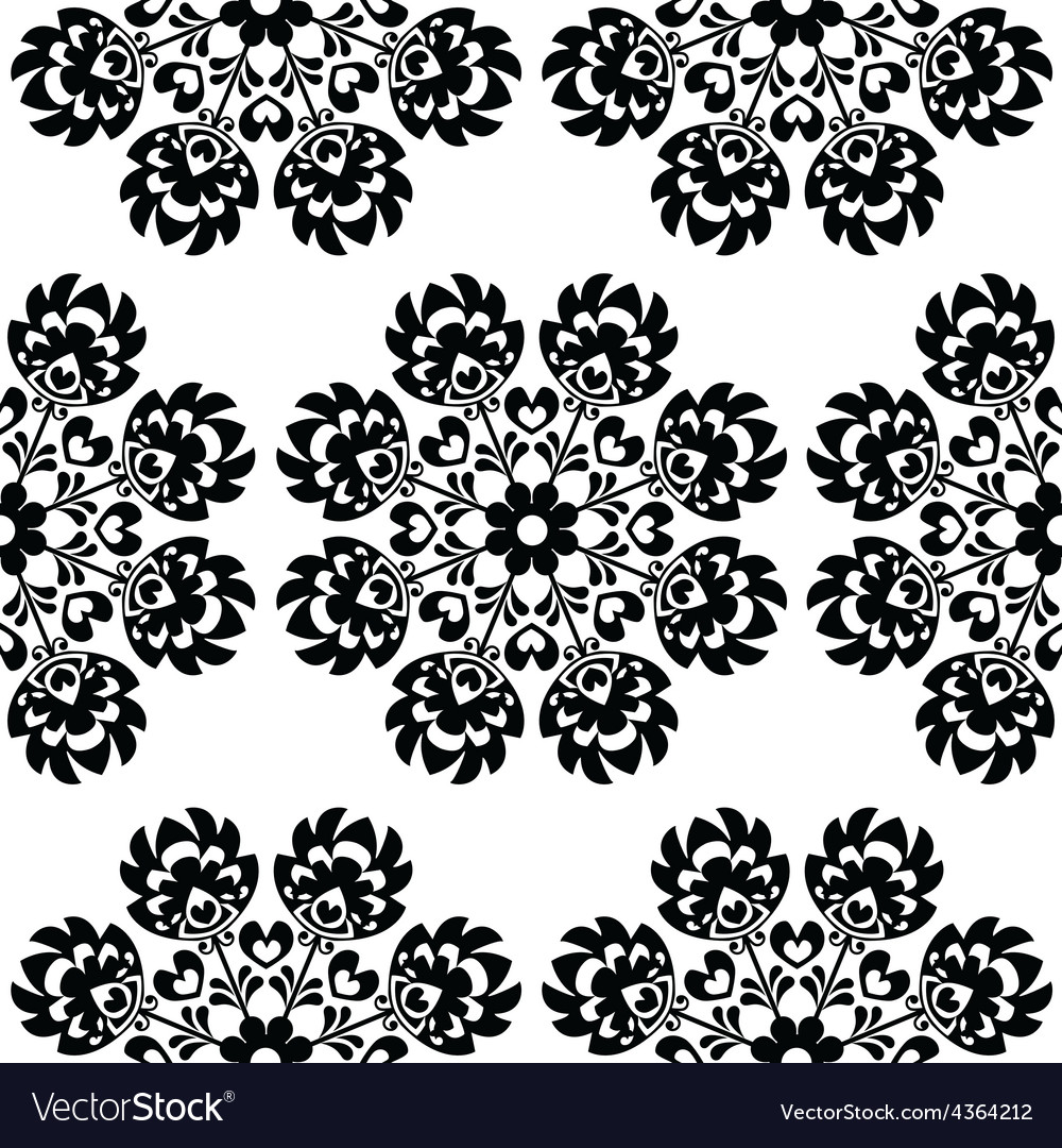 Seamless floral Polish folk art pattern vector image