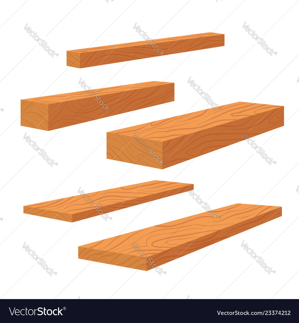 Set of wooden planks stack of bars and lumber
