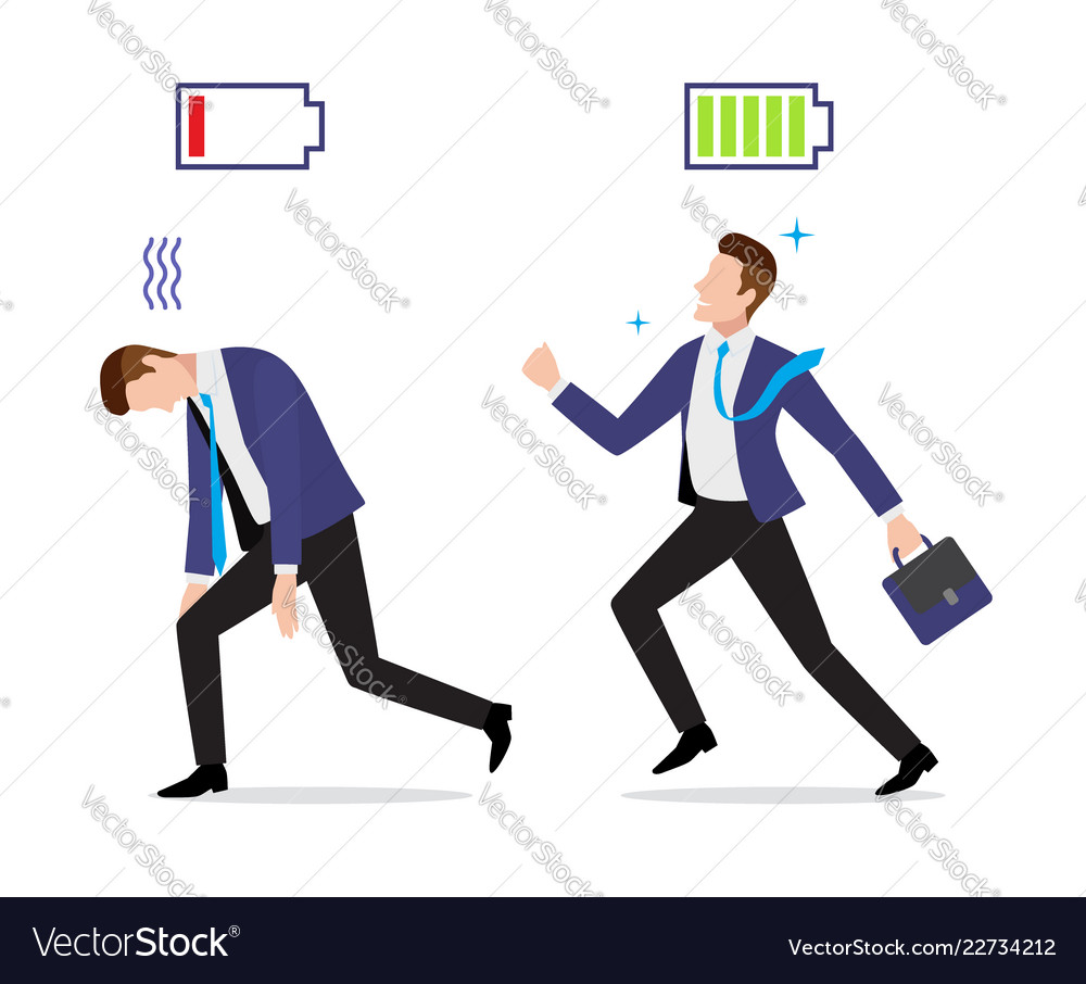 Stressed overworked and vigorous businessman