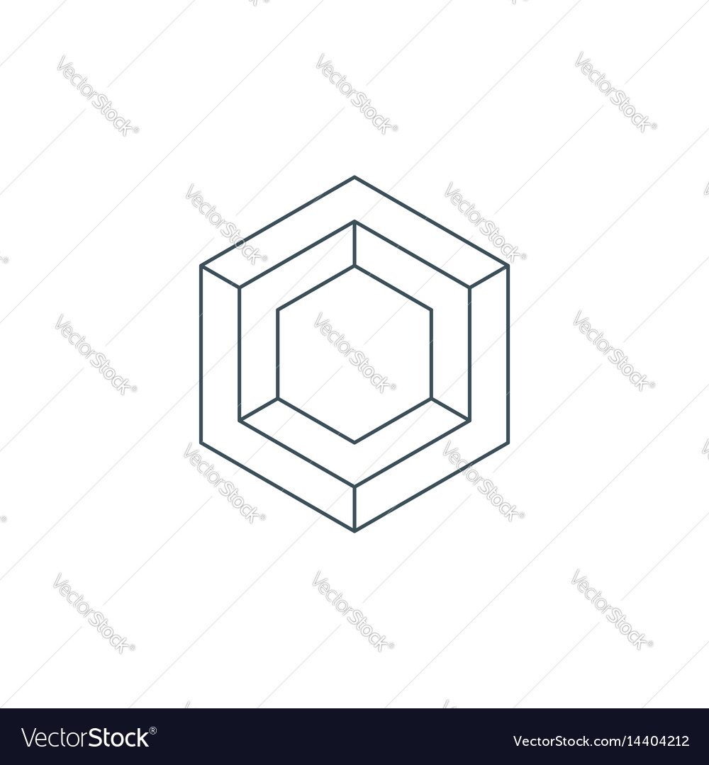 Thin line hexagon symbol vector image