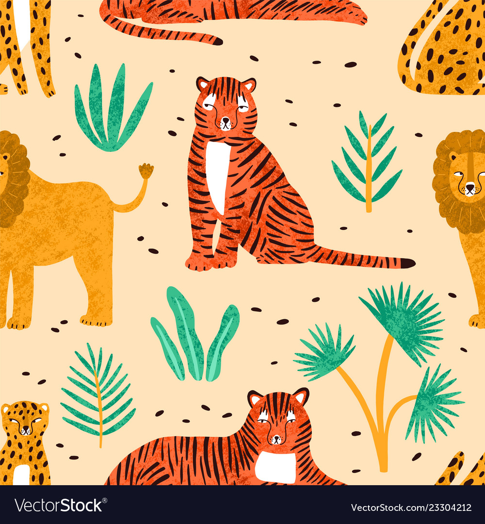 Trendy seamless pattern with hand drawn lions