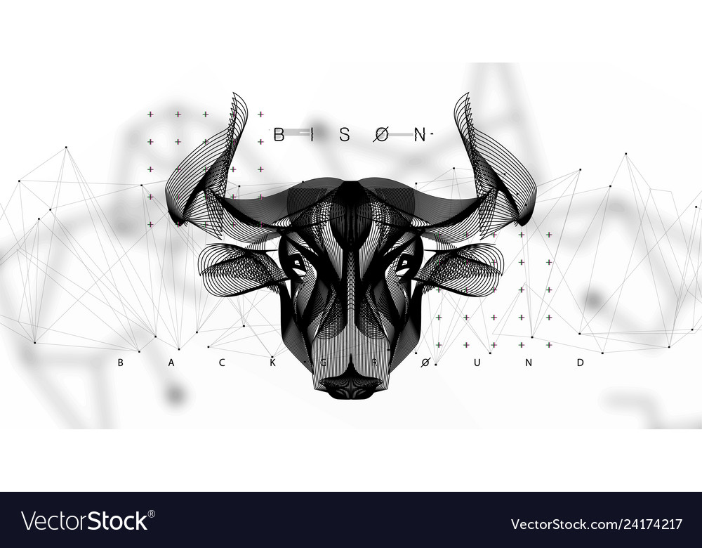 Abstract image of a cow in the form space