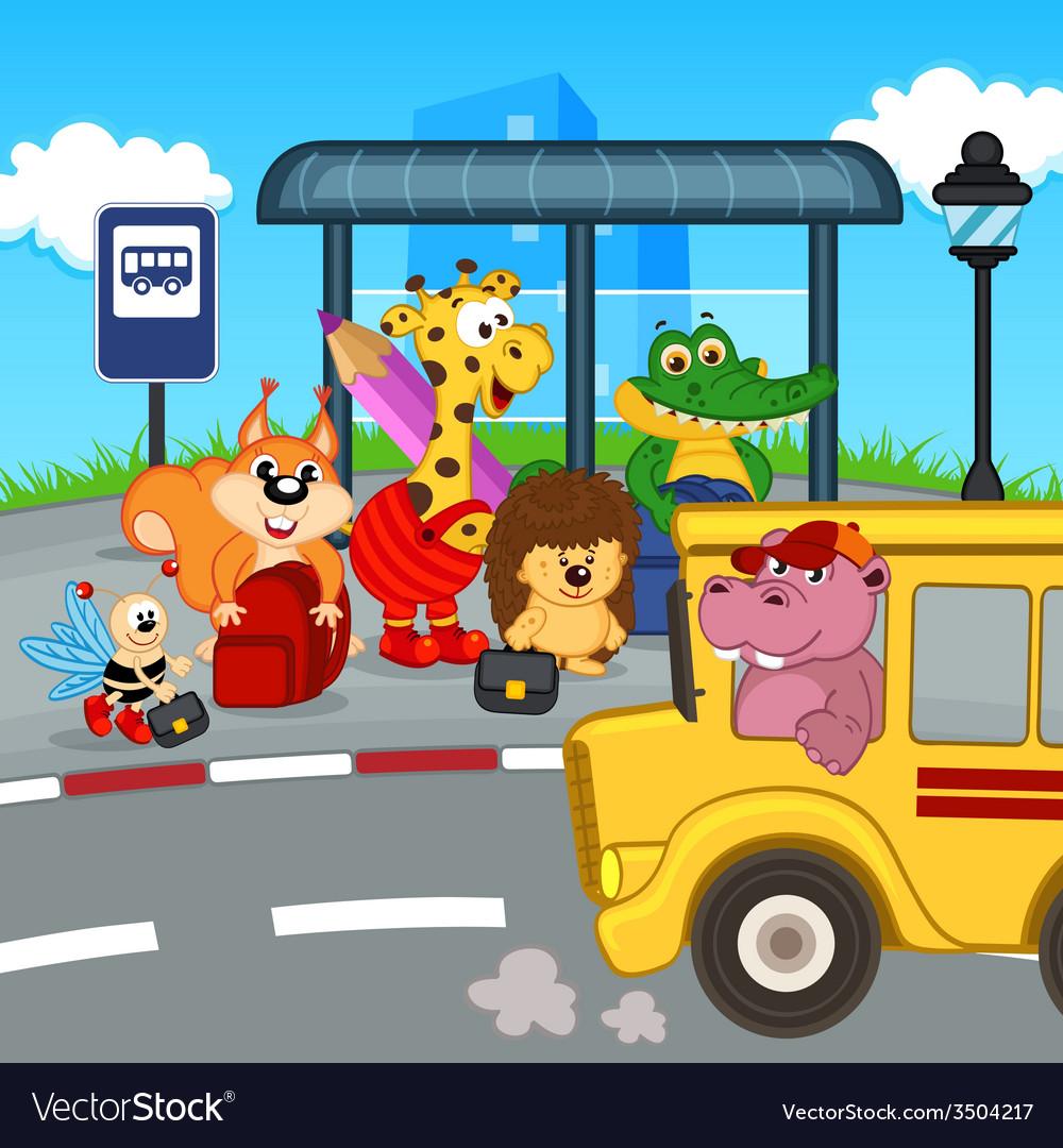Animals at bus stop waiting school bus