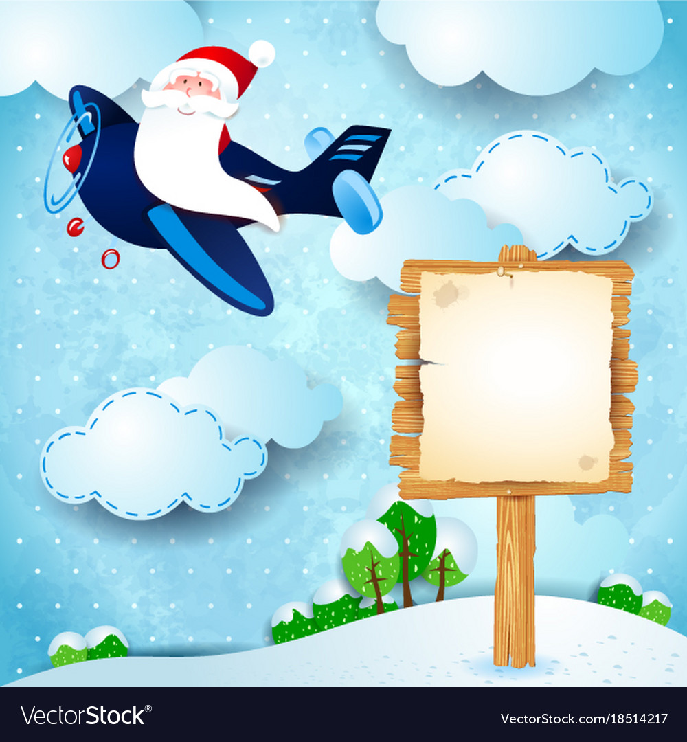christmas background with santa airplane and sign vector image