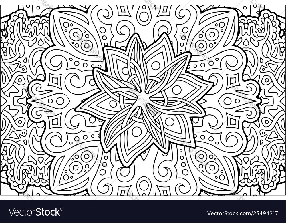 Coloring book page with beautiful stylized flower
