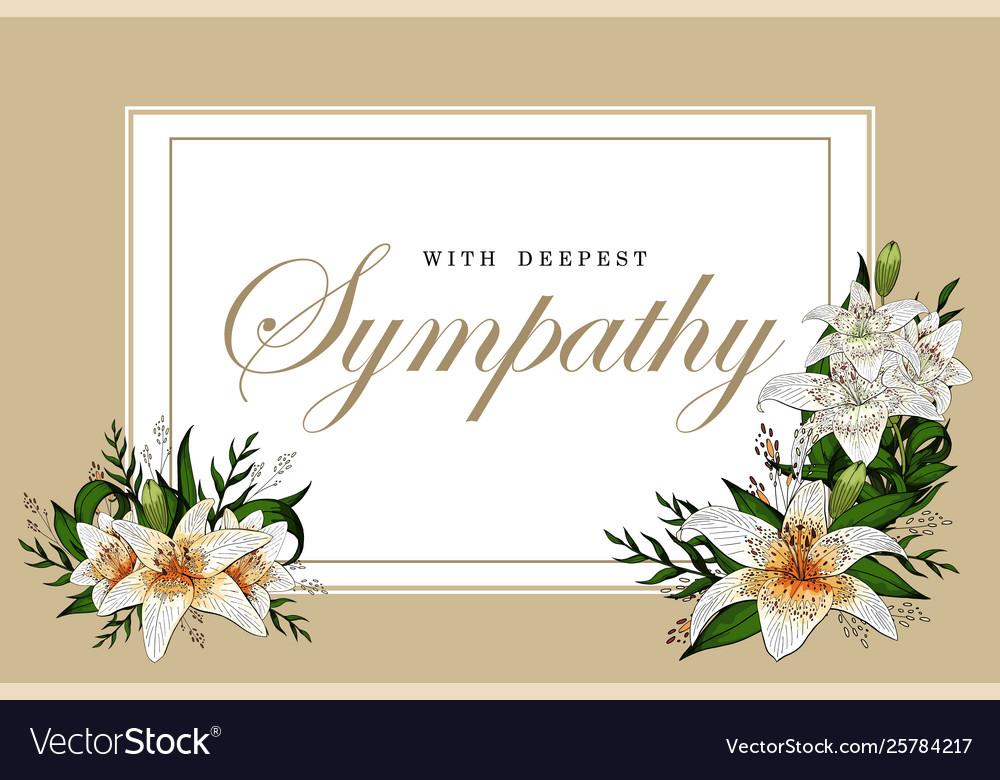 Condolences Sympathy Card Floral Lily Bouquet And