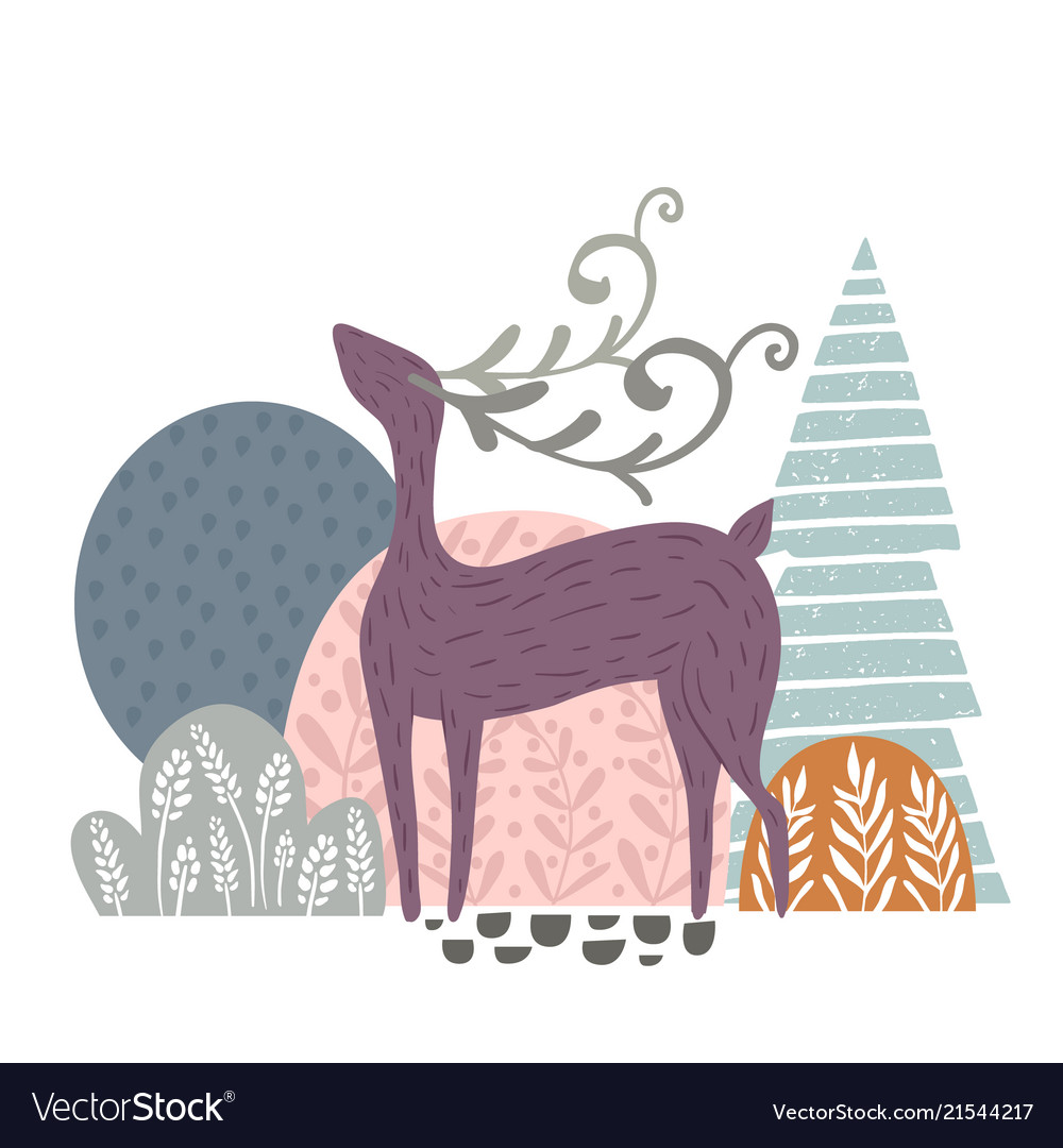 Creative forest print with abstract deer and