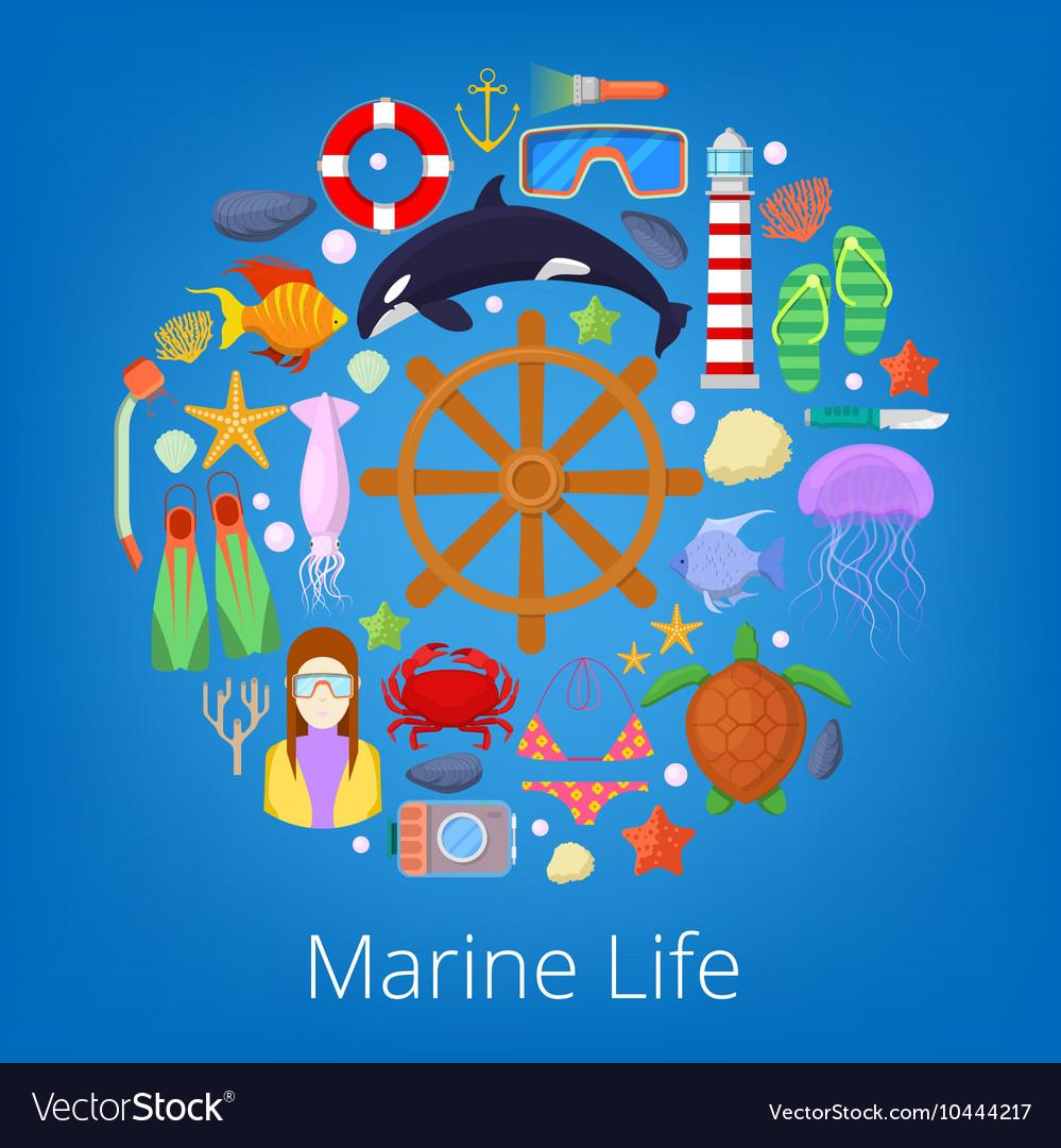 Marine Life with Sea Fish and Nautical Icons