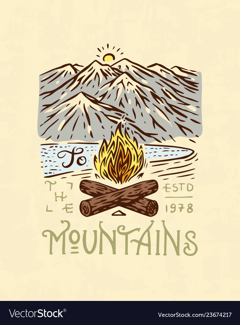Mountains logo camping label trip in the