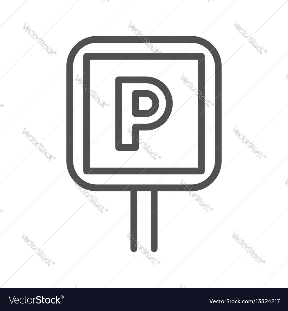 Parking sign line icon