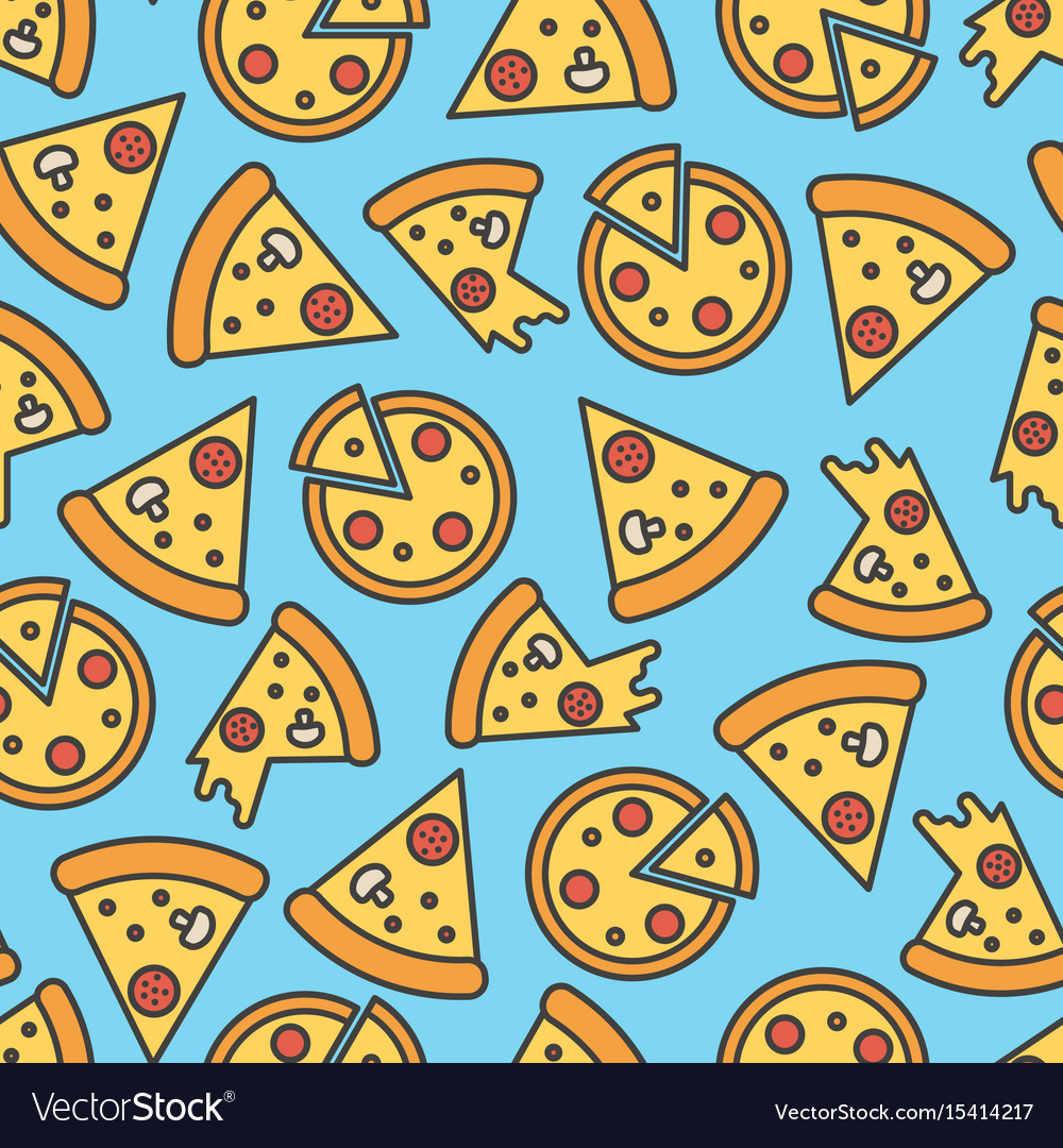 pizza slice seamless pattern on blue background vector image