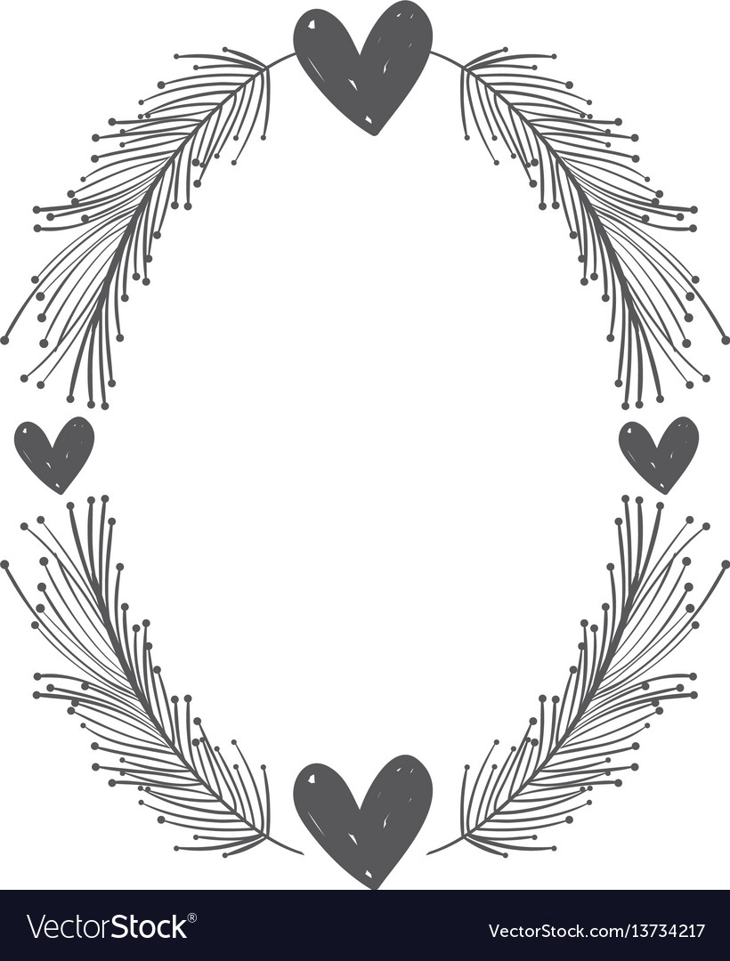 Rustic feathers with hearts decoration