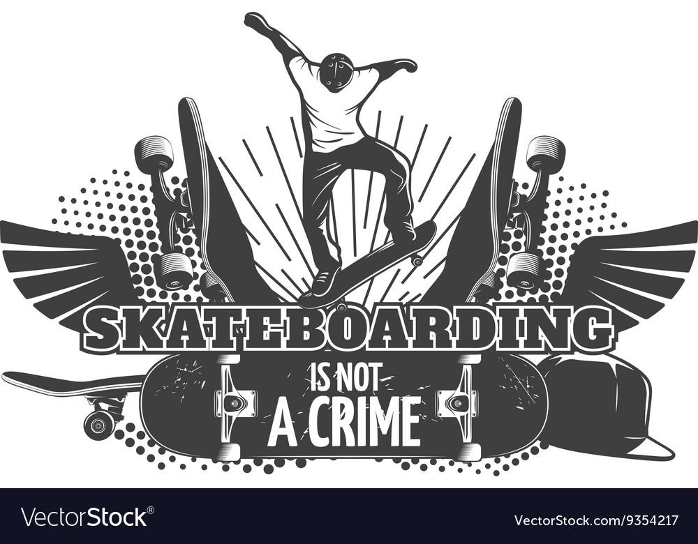 Skateboarding Black Poster